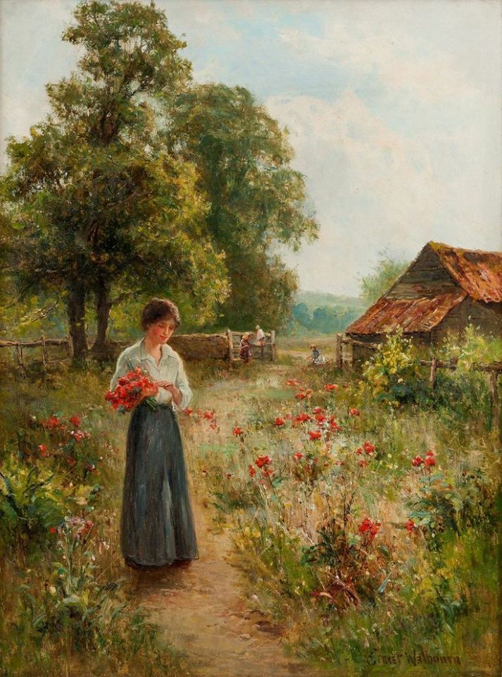 Ernest Walbourn (British, 1872–1927) - Girl in a poppy meadow - Oil on canvas