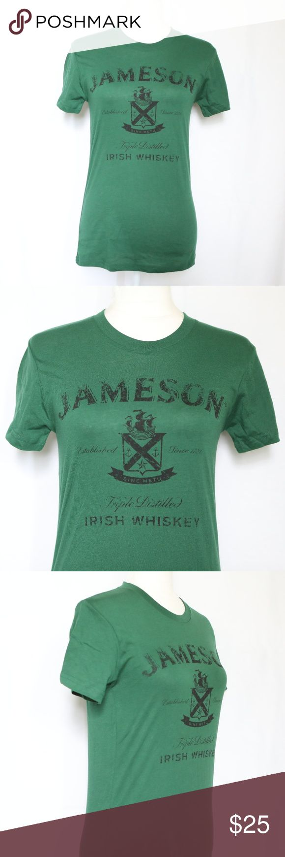 "NEW Jameson Irish Whiskey Women's Green T-shirt  L NEW Jameson Irish Whiskey Women's Green T-shirt  Large 60% Cotton, 40% polyester (it may shrink after wash)  Measurements taken with garment flat on table. Armpit to armpit: 16"" Length: 25.5"" jameson whiskey Tops Tees - Short Sleeve"