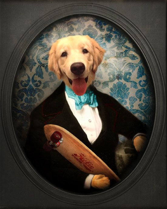 Whimsical Anthropomorphic Altered Vintage Photo Golden Retriever Collage