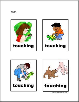 """Flashcards: Senses - Touch (Arial Lettering) - """"Touching"""" - four colorfully-illustrated flashcards."""