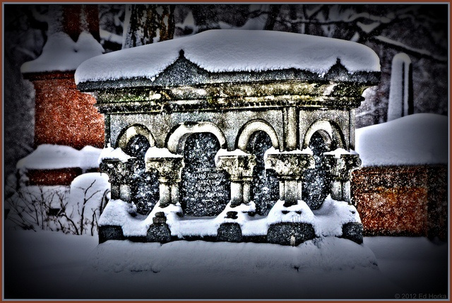 Tombstone in Snow by Edi's Pics, via Flickr: Digital Art, Edie Pics