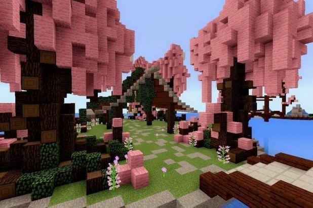 Minecraft Pe Build 8 Cherry Blossom Pa Minecraft Cottage Minecraft Houses Minecraft Pe