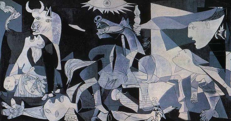 """No dia 12 de Julho de 1937 foi exposta ao público a obra """"Guernica"""", na qual Picasso retratou o bombardeio da cidade basca pelos nazis em A..."""