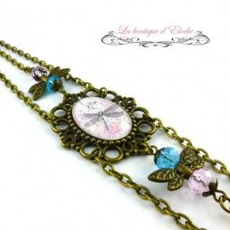 Headband rétro rose chaines libellule bleue