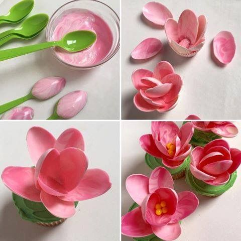 Magnolia Cupcakes - Petals are made from spoons dipped in melted pink candy wafers,yellow sixlets for the centre & green frosted cupcake. By Party Pinching