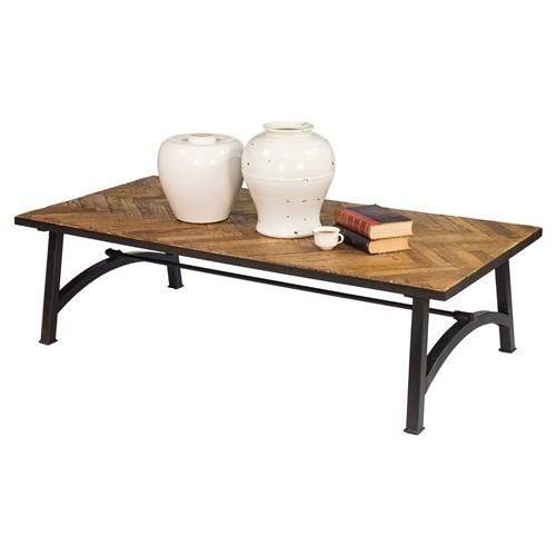 Aura American Industrial Rectangular Reclaimed Wood Iron Coffee Table    Kathy Kuo Home