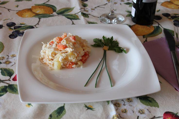 Ensalada de pollo, con un toque diferente, la mazana, sigue paso a paso, la receta en www.kelebek,es
