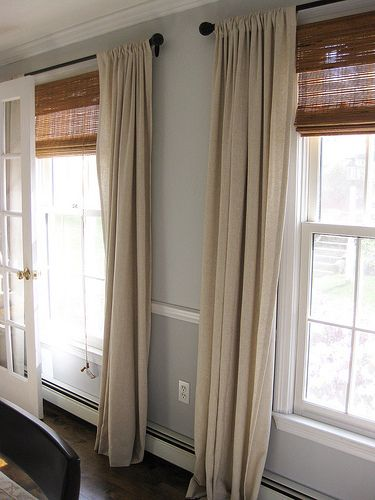 Natural Look Window Treatments Use Drop Cloth Fabric Matchstick Blinds Matte Black Curtain Rod Hung High