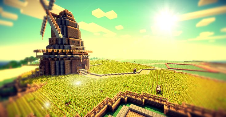 Minecraft windmill and wheat fields.