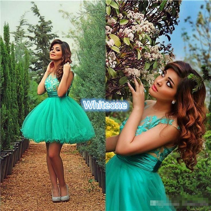 Cute Cheap Short Prom Dresses Ball Gown Tulle Mini Sheer Crew Neck Applique Sleeveless 2016 8th Grade Junior Homecoming Party Dresses Arabic Uk Prom Dress Unusual Prom Dresses From Whiteone, $82.67| Dhgate.Com