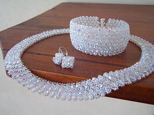 byZuzana / náhrdelník - krištáľový biely