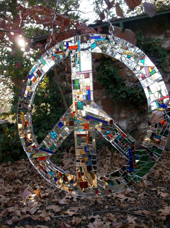 Peace Sign Most Fabulous Mirror Mosaic Peace Sign by hungryholler https://www.etsy.com/listing/212173564/peace-sign-most-fabulous-mirror-mosaic?ref=shop_home_active_1