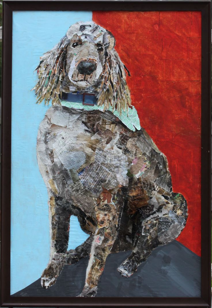 Collage Art, dog art, paper collage, mixed media