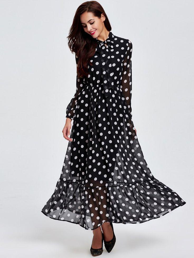 Long Sleeve Polka Dot Chiffon Maxi Dress #CLICK! #clothing, #shoes, #jewelry, #women, #men, #hats, #watches
