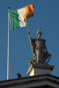 Flag of Ireland flying on roof of GPO, Dublin