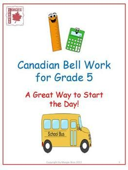 This resource contains daily tasks for Grade 5 students to complete while the teacher handles attendance, checks homework, etc.