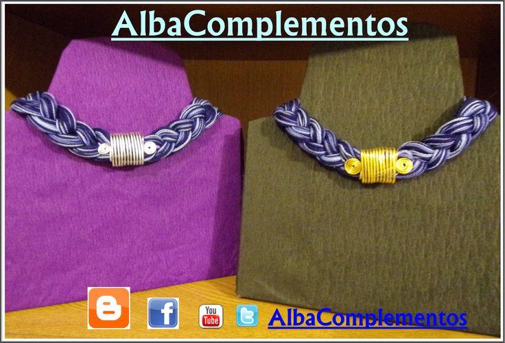 #collar #hechoamano #handmade #bisuteria #alambre #dorado #plateado #azul #accesorios #complementos #AlbaComplementos