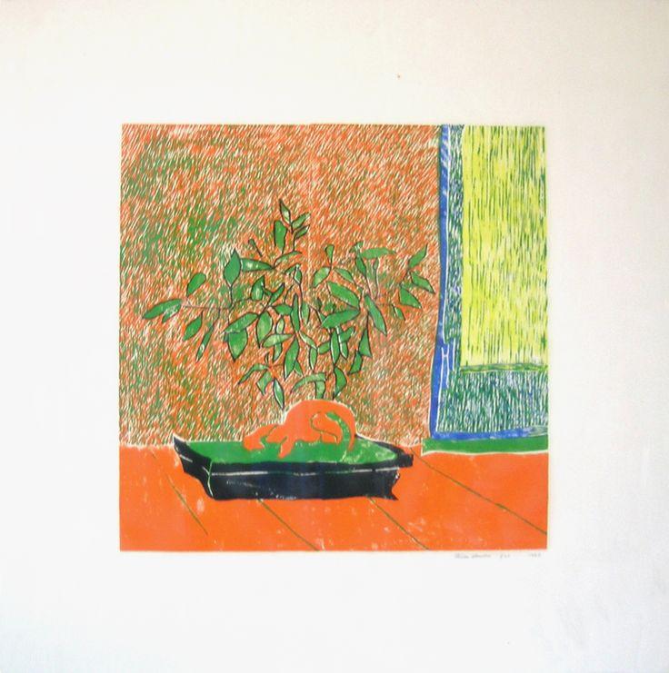 Bonsai 1992. Color woodcut from five pieces woodblock. Composition: cm 45 x 45 ; sheet: cm 75 x 75.