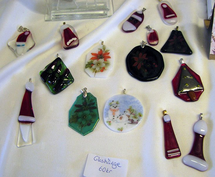 christmas pendants in fused glass