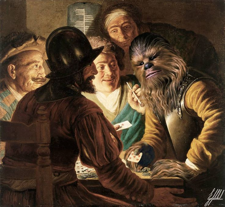 The Force Awakens of the famous masterpieces.  The Card Players painting by Jan Lievens.  #starwars #theforceawakens #chewbacca #famous #painting #art #artwork #digitalart #photomanipulation