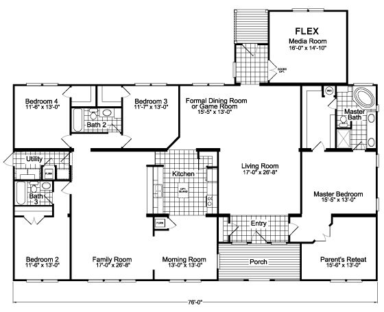 The Gotham Flex SCYD76F8 Home Floor Plan | Manufactured And/or Modular Floor  Plans Available