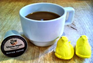 My latest discovery- Peeps taste amazing with Butter Toffee Kcup coffee : )   http://blog.crosscountrycafe.com/2013/04/26/keurig-kcup-coffee-review-butter-toffee/