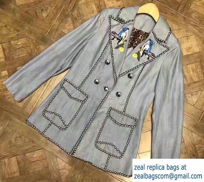 Gucci Embroidered Bird Studded Denim Jacket 2017