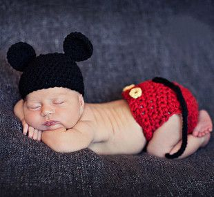 手工针织套装新生儿 婴儿摄影照相衣服 百天宝宝拍小米奇套装