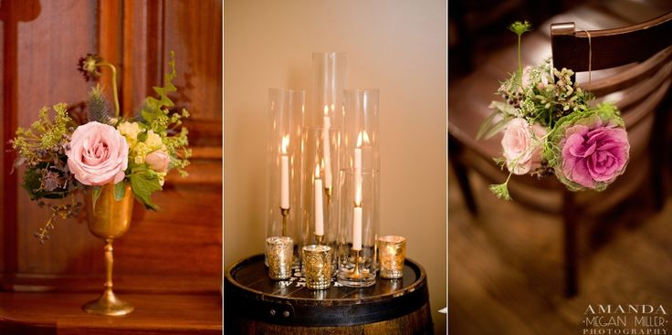 Photography by Amanda Megan Miller, http://amandameganmiller.net/  ||  Flowers by Pollen, pollenfloraldesign.com  || {{Fall wedding with brass goblet and candlesticks at Revolution Brewing in Chicago.}}