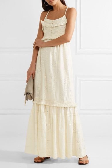 Rachel Zoe   Riley fringed broderie anglaise cotton maxi dress   NET-A-PORTER.COM