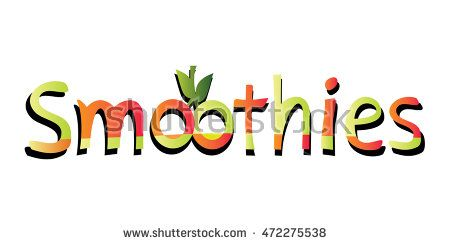 Colorful #smoothies word with the O #letters made as two abstract #oranges bound by a little branch