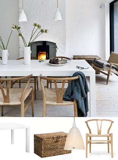 Un fauteuil CH25, des chaises CH24 (clairement Hans Wegner est dans la place !), des suspensions en porcelaine Original BTC : ça nous fait un coin repas sympa tout ça !