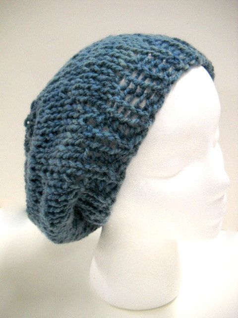 Loose Beret Knitting Pattern : Hand Knit Slouchy Hat Loose Fitting Beanie Faded Blue Jean color, by StitchKn...