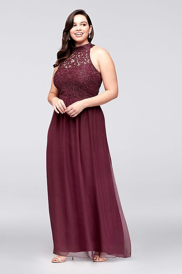 13d73b1b6af The high-neck illusion bodice of this lace and chiffon plus-size gown has a  stylish surprise  ladder-like detailing that spans the open back.
