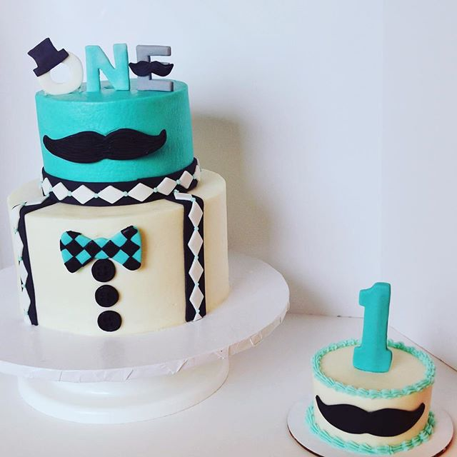 ccscakery | Little Man gentleman first birthday cake and smash cake