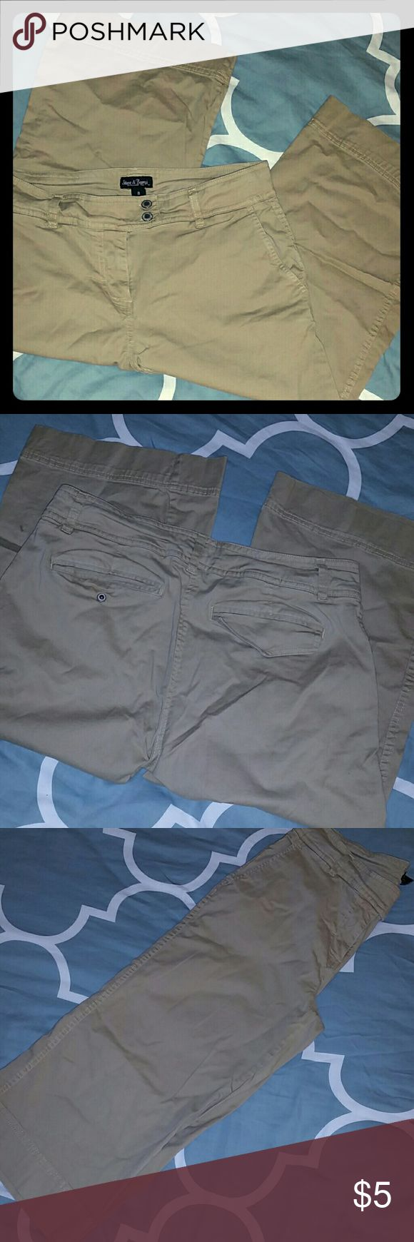*BUY 2 GET 1 FREE*Wide-leg Cotton/Stretch Capris Only worn once or twice!  Cotton/stretch khaki capris with a wide leg. Steve & Barry's Pants Capris