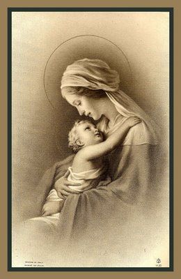 "Holy Cards For Your Inspiration ~~ A beautiful image of the Blessed Mother and Baby Jesus....(Click site for more holy cards and ""Visit"" for quotes by the saints.)"