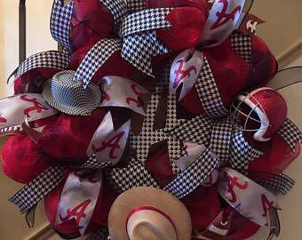 Alabama Wreath,Alabama Football,Front Door Decor,Crimson Tide Wreath,Roll Tide Wreath,Dorm Door Decoration,Houndstooth Decor,Alabama Decor