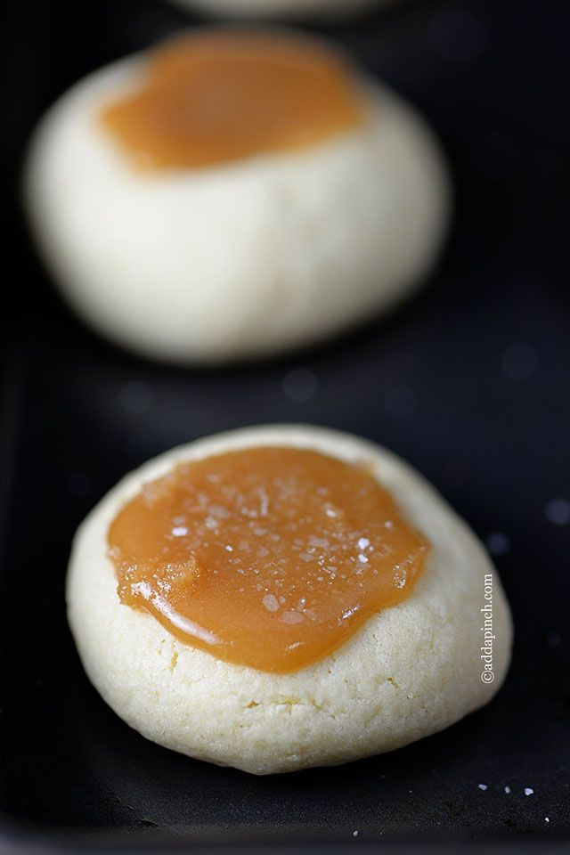 Salted Carmel Thumbprints Cookies | ©addapinch.com