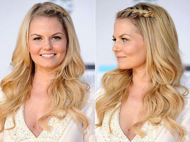 Braids, braided hair, braided hairstyles, hair inspiration, celeb hair, celebrity hair, Jennifer Morrison, french-braid, french braided bangs, curls