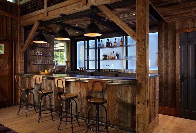 Rustic barn siding bar