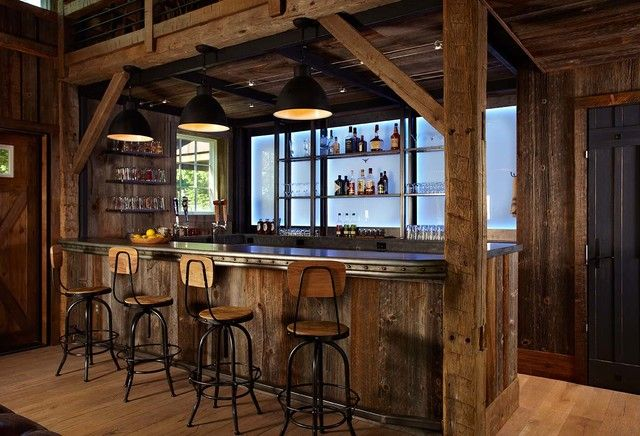 Rustic barn siding bar