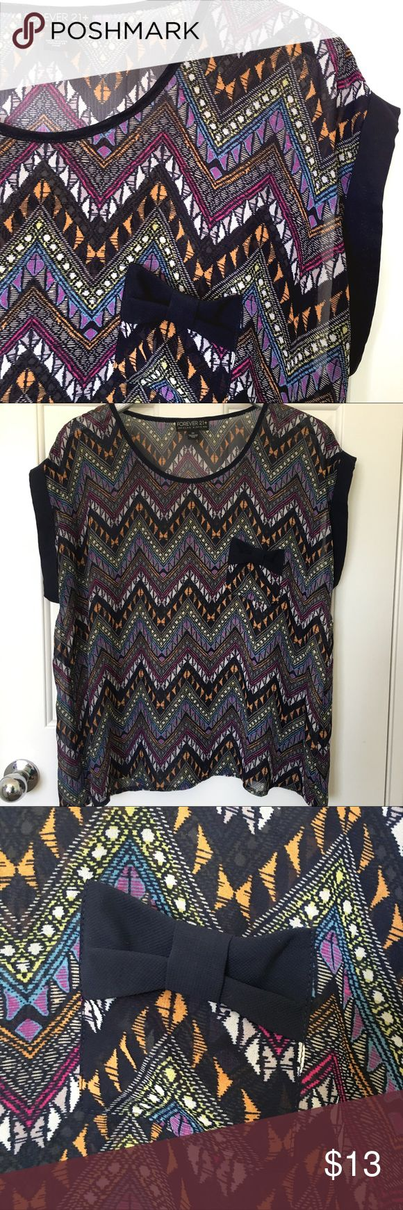 FF21 sheer aztec graphic print shirt multi color This shirt is perfect for summer! Wear a cami or bandeau underneath and you are ready to go! In like new condition! Forever 21 Tops Blouses
