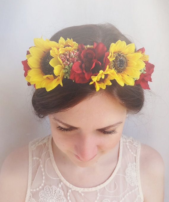 floral crown sunflower hair accessories sunflower by thehoneycomb