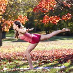 blogilates:#tbt to fall foliage in Boston when we shot for Hot Body Year Round! You'll notice that the grass and far trees behind were green and the closer tree was red. Literally…it was the only red tree in sight even though we booked our flights around the leaf schedule!  But I was so grateful though! These are some of my favorite photos!   Try the T-Calf Raise for intense leg sculpting (esp. calves and quads)! Notice how my heel is lifted off the mat in the photo. I want you to try a ...