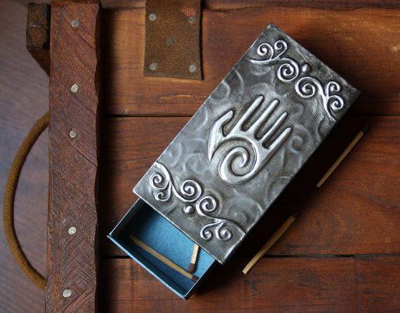 Spiral Hand Pewter Matchbox Holder wood Reiki by PurpleMoonCraft, $20.50