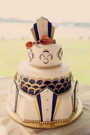 Art Deco wedding cake by CreationsFromTheHeart.org // photo by JoyeusePhotography.com