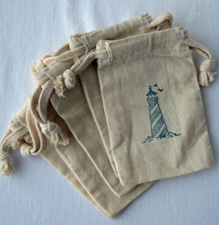 Beach Nautical Wedding Favors, 10 Lighthouse Beach Wedding Favors, Cotton Favor Bags 3x5