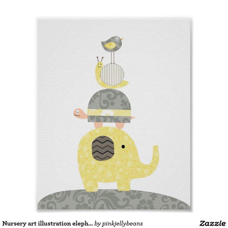 Tartaruga do pássaro de elefante da ilustração da  poster