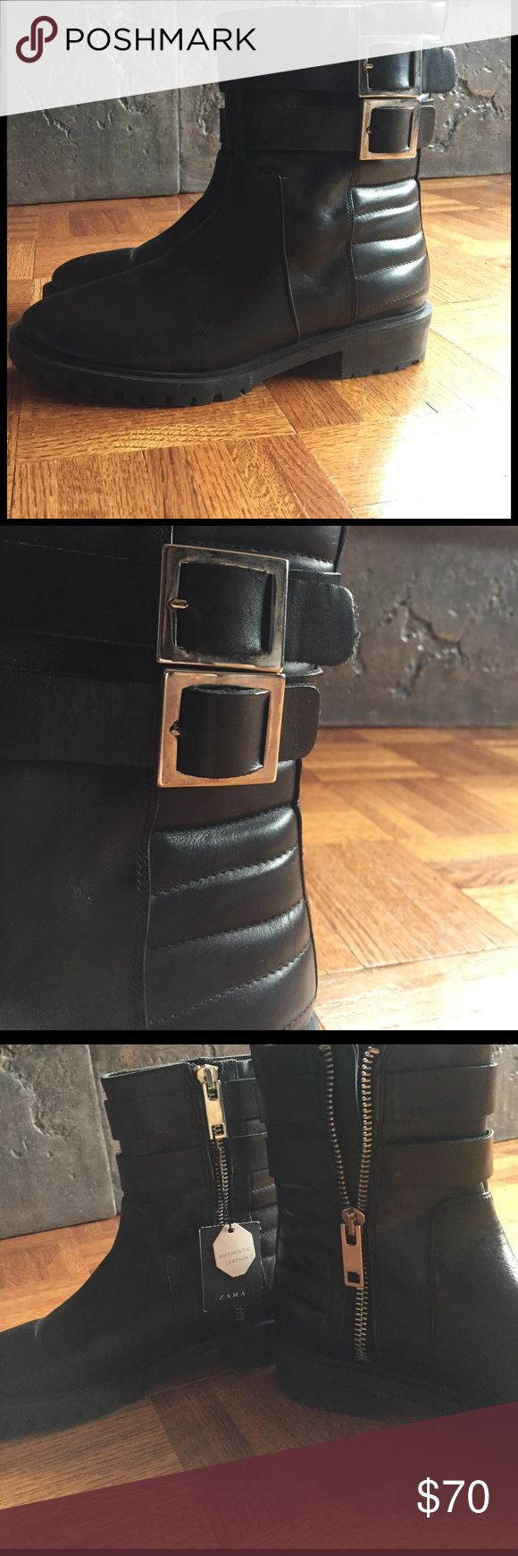 Zara combat boots Never worn with tags. Above the ankle combat boots. Authentic leather. Zara Shoes Ankle Boots & Booties